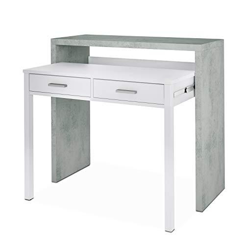 Habitdesign 004582BO - Mesa de Escritorio Extensible, Mesa Estudio Consola, Medidas: 98,5 x 87,5 x 36-66 cm de Fondo (Blanco Artik y Gris Cemento)
