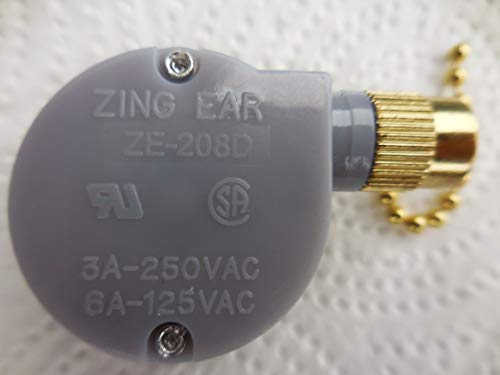 Genuine  Ceiling Fan Pull Chain 2 Speed Control Replacement Switch  5 to 8 Wires Ceiling Fan Switch 5 Wire for Ceiling Fans, Fans, and Multi Speed Appliances (Brass) - Zing Ear ze-208d