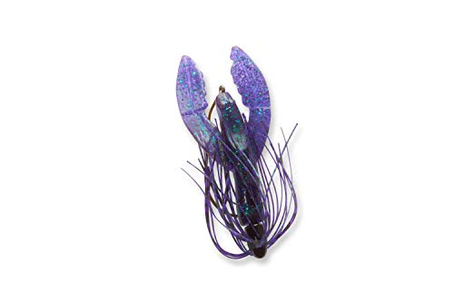 C TO C BAIT COMPANY Mendota Rig Skirted Craw Fishing Lure - Freshwater or Saltwater Use, Plastic, Black Grape/Green
