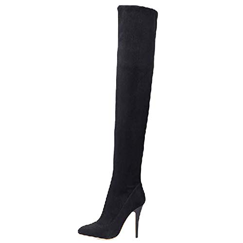 Limsea 2018 Women Knight Boot Leisure Mixed Colors Thick Heel Round Head Side Zipper (7, Black)