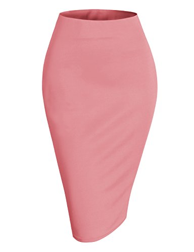H2H Womens Basic Versatile Elastic Waist Band Office Pencil Skirt Made in Korea Coral L (AWBMS0188)