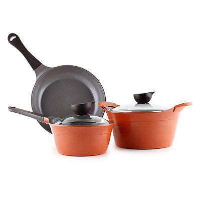 Neoflam Eela Nonstick Ceramic 5-Piece Cookware Set in Orange
