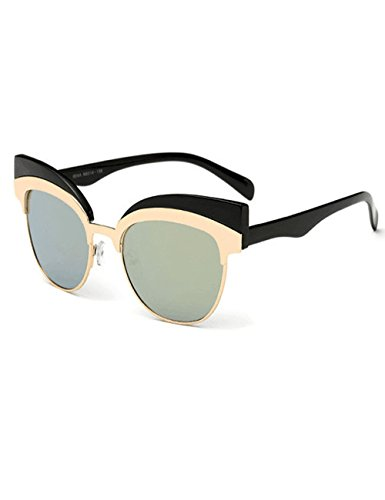Womens Cateye Eyebrow Semi-Rimless Plastic Metal Frame UV400 Sunglasses - Sunglasses Kd Prescription