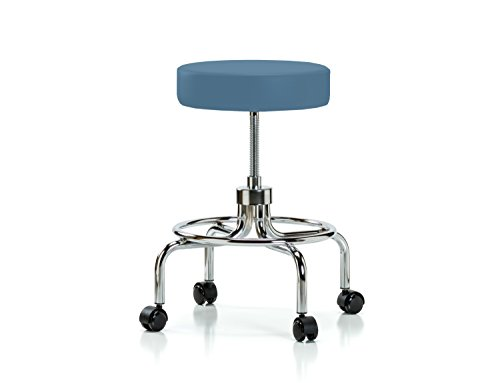 Perch Rolling Retro Exam Stool with Wheels for Hardwood or Tile Floors, Colonial Blue Vinyl Spin Lift Exam Stool