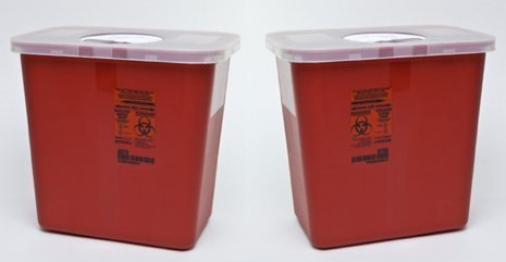 Kendall Sharps Container with Rotor Lid - 2 Gallon by KENDALL HEALTHCARE (2) ()