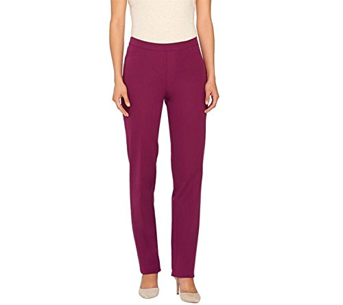 Isaac Mizrahi 24/7 Stretch Full Length Straight Leg Pants Mulberry 8 New A266247 - Pants Mulberry Line