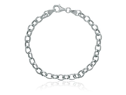 Ritastephens Sterling Silver Rolo Link Charm Bracelet 7 1/4 Inches