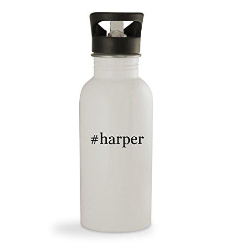 #harper - 20oz Hashtag Sturdy Stainless Steel Water Bottle, White