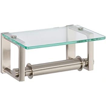 Ginger 3027/SN Frame TP Holder w/Glass Shelf, Satin Nickel