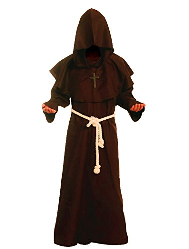 [Cos2be Costume For The Medieval Monks Robe Various Styles(Coffee,Men-L)] (L Themed Costumes)