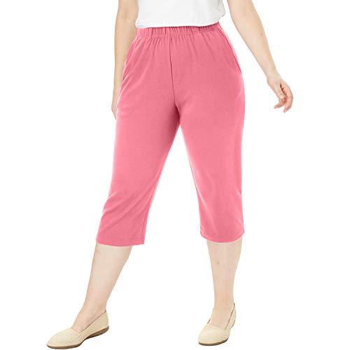 Knit Capris - Woman Within Women's Plus Size Petite 7-Day Knit Capri - Rose Mauve, L
