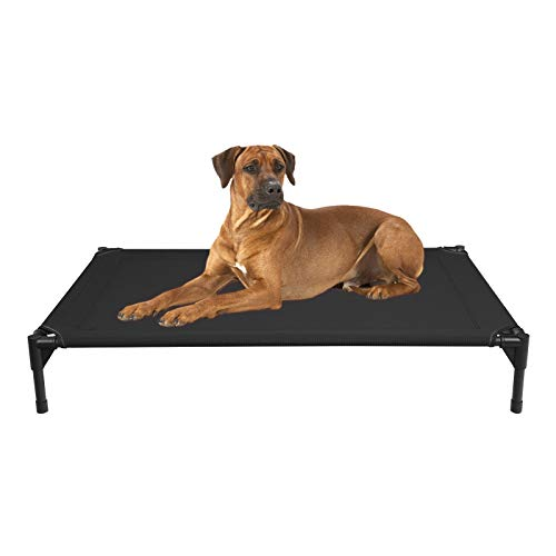 Veehoo Cooling Elevated Dog Bed - Portable Raised Pet Cot with Washable & Breathable Mesh, No-Slip Rubber Feet for Indoor & Outdoor Use, Oversize Package, Large | Black