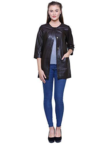 Albapelle Women's Lambskin Leather Walking Overcoat Coat ()