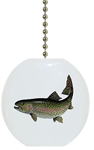Rainbow Trout Solid Ceramic Fan Pull Hardware Trout