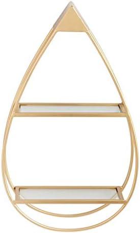 メタルラック本体 リビングルーム錬鉄製の金棚寝室仕上げラック寝室の壁掛けガラス本棚多層クリエイティブ装飾フレーム (Color : Gold, Size : 35*15*58cm)
