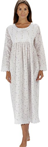 The 1 for U Nightgown 100% Cotton Womens Long Nightie + Pockets HelenaLS (XXXL, Lilac Rose)