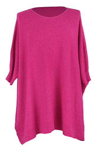 Hem Womens Knitted Batwing Sweater Cuff Lagenlook Pink TEXTURE Ladies Cerise Jumper Ribbed Plus One Size wfUYWXx