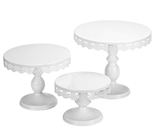 (VILAVITA Set of 3 Cake Stands Round Cupcake Stands Metal Dessert Display Cake Stand, White)