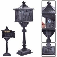 Classic Pedestal Mailbox Package (Mail Box Heavy Duty Mailbox Postal Box Security Cast Aluminum Vertical Pedestal)