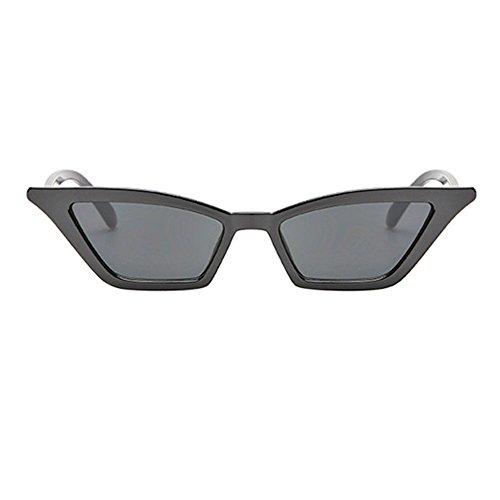 Chat Mode Lunettes Lens petit Classique Cadre Extérieur amp; De Plastique Œil Noir Uv400 Meijunter Frame Style Femmes Gris Soleil Pour 7xH8w8Xdq