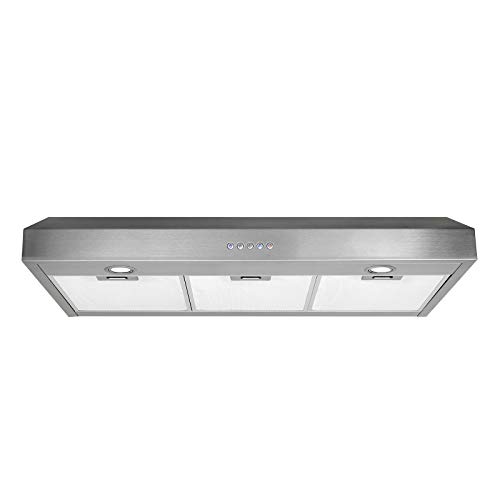 36 inch Range Hood 350 CFM Slim Profile Ducted Under Cabinet Stainless Steel Kitchen Stove Vent Fan ()