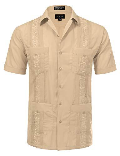 JD Apparel Men's Short Sleeve Cuban Guayabera Shirts17-17.5N X-Large Light -