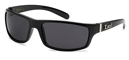 LOCS SD+ Men's Hardcore Black Rectangle Sports Wrap Dark Polarized Sunglasses - Slim (Dark Locs Sunglasses compare prices)