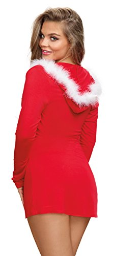 Dreamgirl Jersey Santa Themed Robe With Marabou Trimmed Hood