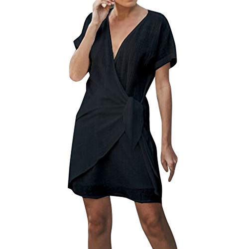 Aniywn Women Summer Mini Short Dress Ladies Wrap Irregular Dress Short Sleeve V-Neck Pure Color Black