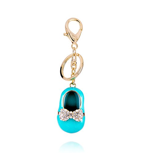 Cute Bling Crystal Rhinestone Keychain Gold Tone Key Ring Moonstone Charm Handbag Accessories for Women and Girls (crystal blue shoe) from ISAACSONG.DESIGN