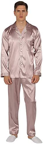 YIMANIE Mens Silk Satin Pajamas Set Classic Sleepwear Loungewear