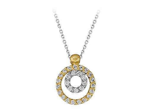 Birgie Diamants et Bijoux - Collier Double Solitaires-Femme- or Blanc 201P0078