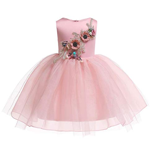 Askong Girls Summer Sleeveless O Neck Tulle Pageant Evening Tutu Princess Embroidery Pink Dresses for 9-10 Years]()