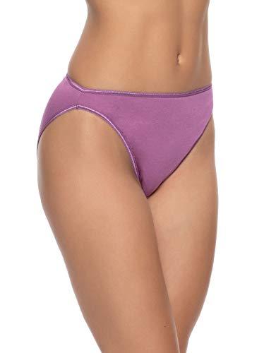 Felina | So Smooth Modal Hi Cut Panty | Hi Leg Opening | Full Coverage (Bordeaux, X-Large)