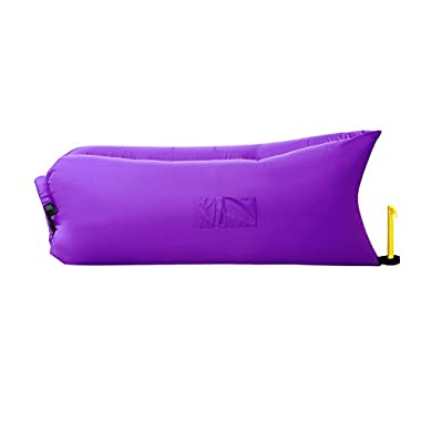 Homfu inflatable sofa air sleeping bag bed lounger mattress couch hammock portable nylon waterproof compression sacks for outdoor camping beach hiking bags with pockets security loop peg (Dark Purple)