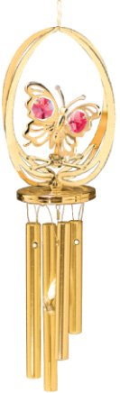 (24K Gold Plated Wind Chime Sun Catcher or Ornament..... Butterfly in Elipse With Red Swarovski Austrian Crystal)