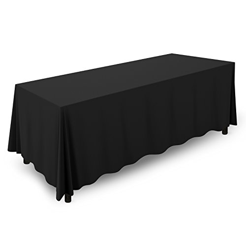 "Mill & Thread - 90"" x 156"" Premium Tablecloth for Wedding / Banquet / Restaurant - Rectangular Polyester Fabric Table Cloth - Black"