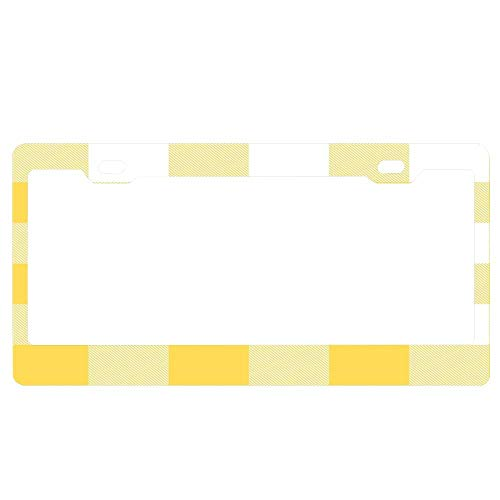 ABLnewitemFrameFF Buffalo Check Mustard Yellow and White Plaid Wide Stripes Unique Auto License Plate Frame, Waterproof Aluminum Car Licence Plate Covers for Women/Men/Girls