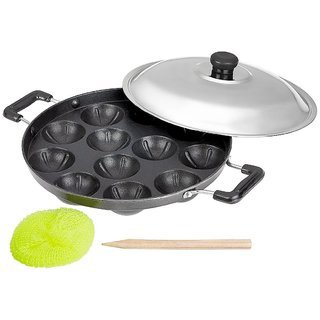 AppamPatra Paniyaram Non Stick Pan with Stainless Steel Lid 12 Cavity,12 Cavity Appam Patra With S.s Lid & 2 Side Handle (Black) (Best Dosa Pan In India)