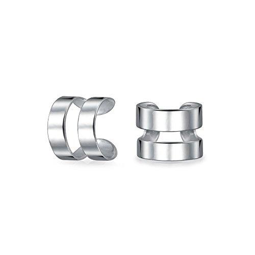 Tiny Modern Geometric Helix Wrap Two Band Ear Cuffs Cartilage Lobe Earrings For Women For Men 925 Sterling Silver