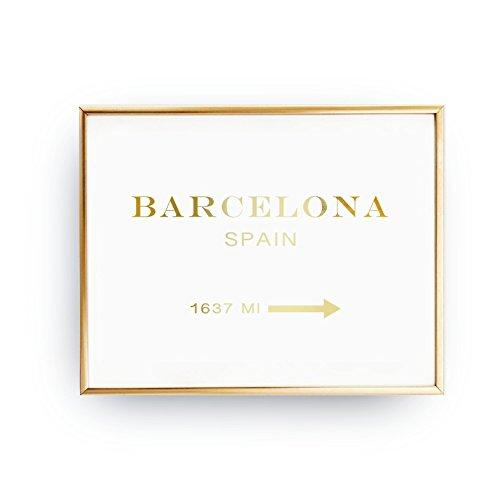 Barcelona Spain 1637 MI, Girl Inspired Poster, Bedroom Decor, Spain Print, Real Gold Foil Print, Inspirational Poster, Barcelona Poster, by Lovely Decor