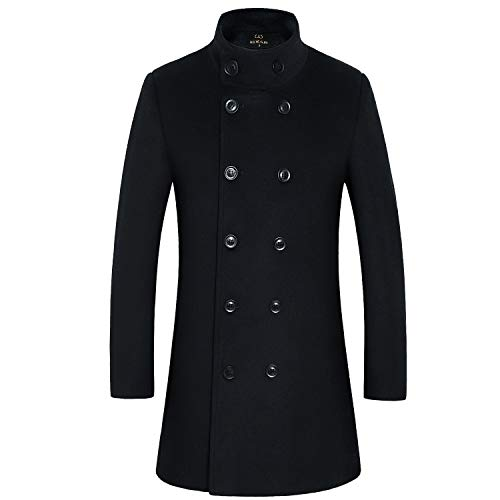 lend Double Breasted Long Pea Coat (Black 2, Large) ()