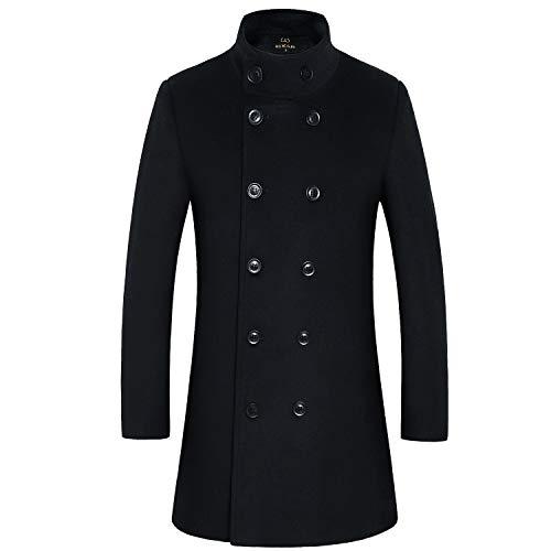 HXW.GJQ Men's Stylish Wool Blend Double Breasted Long Pea Coat (Black, ()