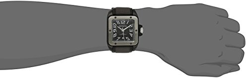 Invicta Men's 1457 Cuadro Black Dial Grey Techno-fiber Over Black Leather Watch