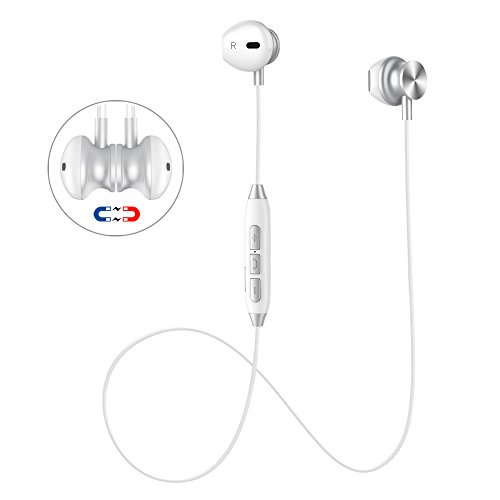 Bluetooth Headset, Wireless Earbuds V4.1 Stereo Noise Canceling Sport Magnetic Headphones Earpieces with Built in Mic Compatible Samsung Galaxy S9/S8/S7, iPhone X/8/8 Plus/7/7 Plus and More (White)