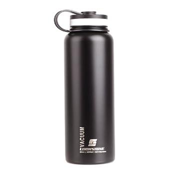 Andoer 1000ML Botella de agua de Acero inoxidable Al aire libre Botella de deporte Negro