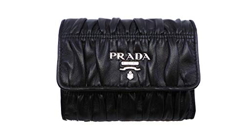 Prada Women's Black Nero Portfoglio Pattina Nappa Gaufre' Leather Wallet 1MH840