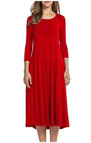 Coolred Tendenza Manica Womens Girocollo Solida Rosso Abbigliamento Lunga Semplice A Casual 1WHqdqZwF