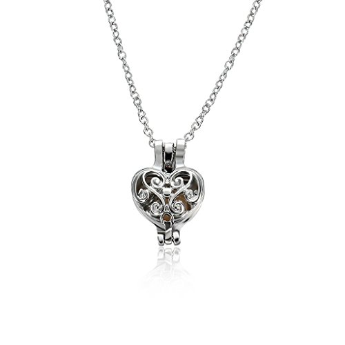 ForHe 1 Pc Heart Cage Oyster Faux Pearl Bead Women Pendant Charm Fashion Necklace (Faux Pearl Silver Beads)