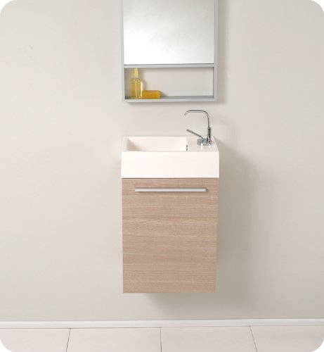Fresca Pulito Small Light Wood Modern Bathroom Vanity with Tall Mirror